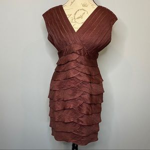 Adrianna Papell Copper Wine Flutter Pleat Dress